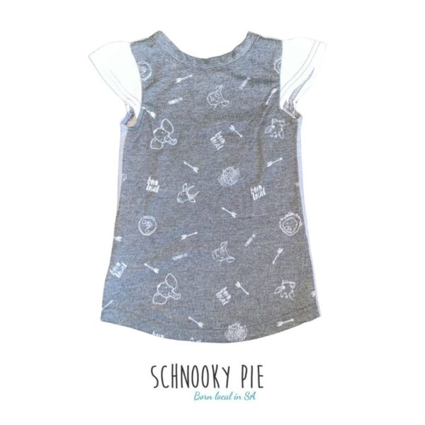 Girls dress, with born local and wild animals all over prints on grey Mélange fabric