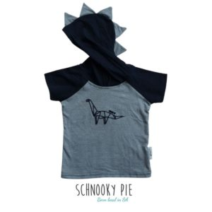 Grey and Navy hooded shirt with a dinosaur printed in front and dinosaur spikes on the hoodie.