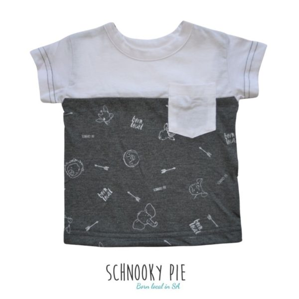 White and Charcoal t-shirt with wild animals printed all over on the charcoal melange.