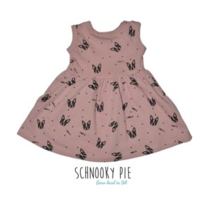 Dusty pink all over Boston terrier prints in black, t-shirt dress!