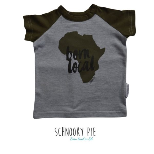 Baby and toddler Africa T-shirt, born local, olive short sleeves and grey mélange