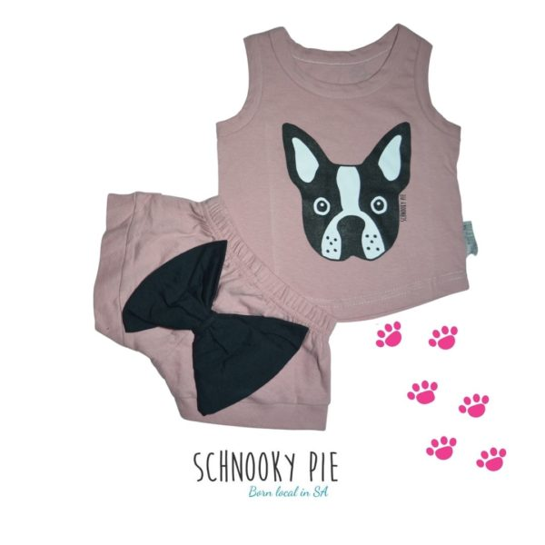 Dusty Pink Boston terrier vest with matching dusty pink shorts and bow on the bum