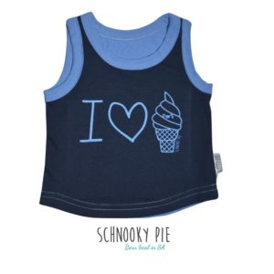 Navy and denim blue vest with an I love ice-cream print on the front