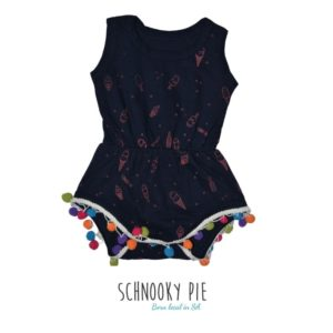 Coral all over ice-creams printed on navy 100% cotton fabric with cute little different colors pompoms jumpsuit!