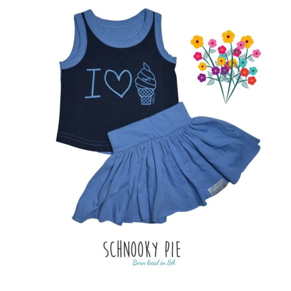 I love ice-cream shirt and denim blue skirt set