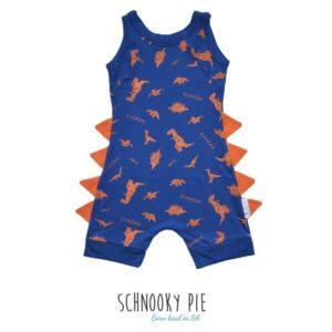 A royal blue with orange dinosaur prints and orange dinosaur spikes romper!