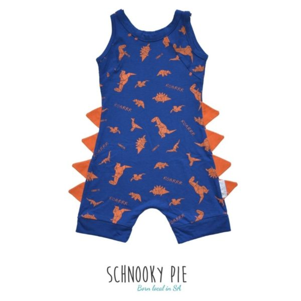 A royal blue with orange dinosaur prints and orange dinosaur spikes romper!