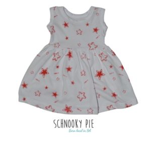 White dress with red stars all over print t-shirt dress