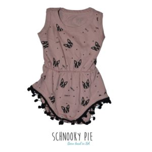 Dusty pink and black Boston terrier jumpsuit rounded off with the cutest black pompom trims!