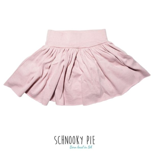 Dusty pink toddler skirt, made from cotton jersey knit 100% cotton.