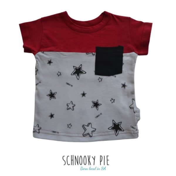 Black and white all over star print with a beautiful red to make the t-shirt pop! Perfect for stylish toddlers